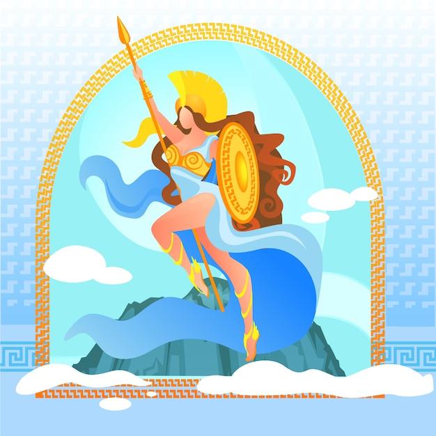 Déesse guerrière athéna en armure dorée au sommet Vecteur Premium
