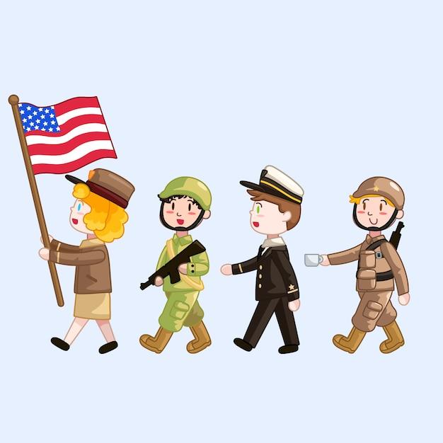 Défilé d'enfants en uniforme militaire Vecteur Premium