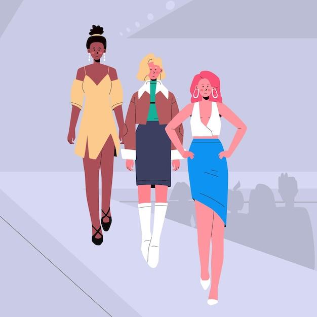 Défilé De Mode Dessiné à La Main Illustré Vecteur gratuit