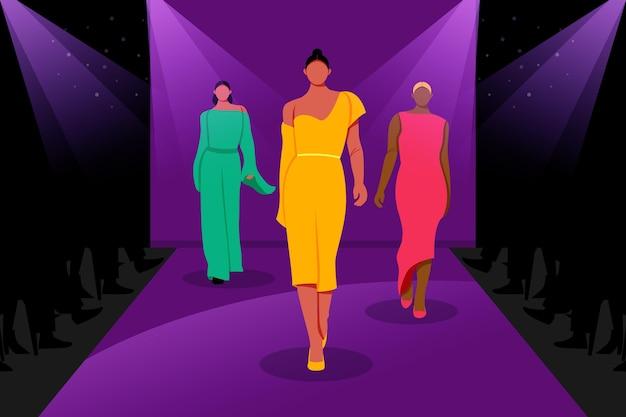 Défilé De Mode Dessiné à La Main Vecteur gratuit