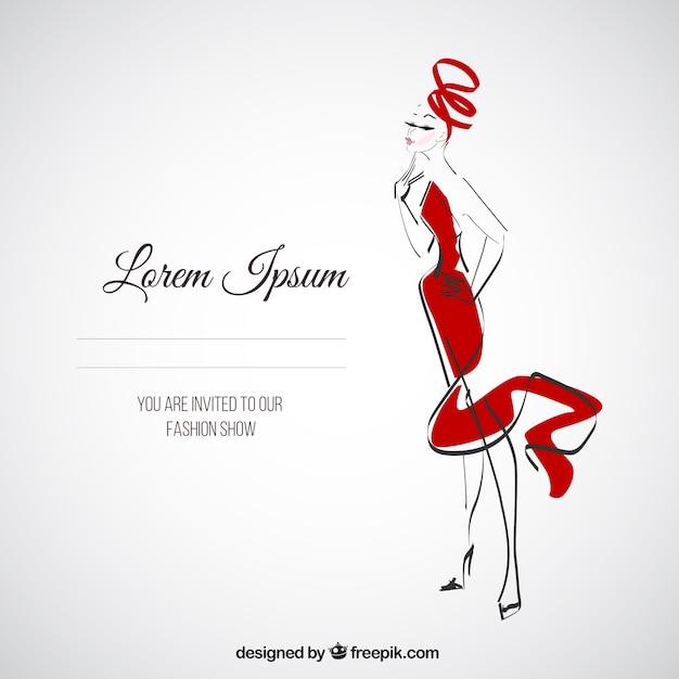 Défilé De Mode Invitation Vecteur Premium