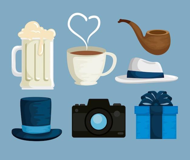 Définir des accessoires de père pour célébrer un jour spécial Vecteur Premium