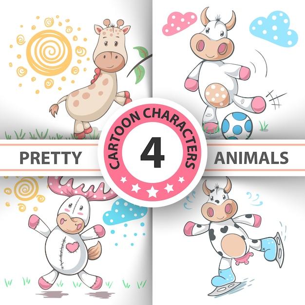 Définir des animaux de dessin animé Vecteur Premium