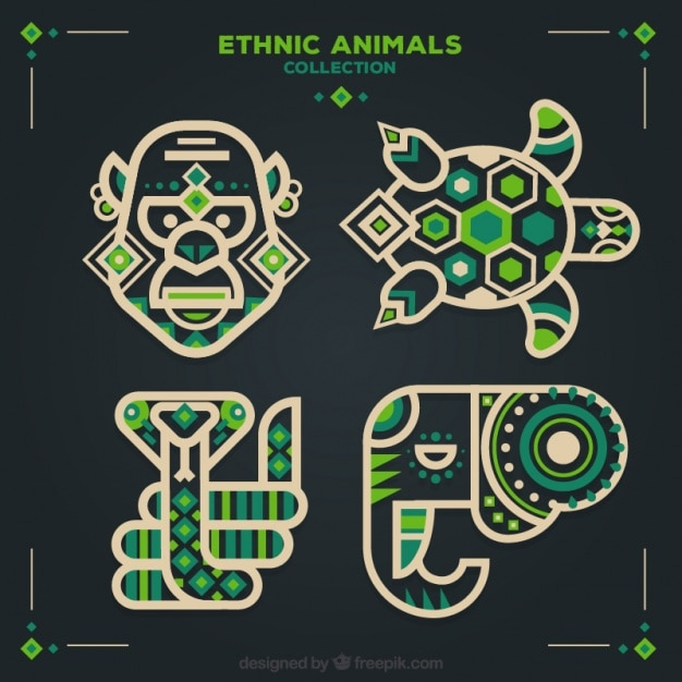 Définir des animaux ethniques design plat Vecteur gratuit