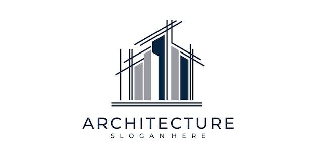 Définir L'architecture De Logo Avec L'inspiration De Conception De Logo De Concept De Style D'art De Ligne Vecteur Premium