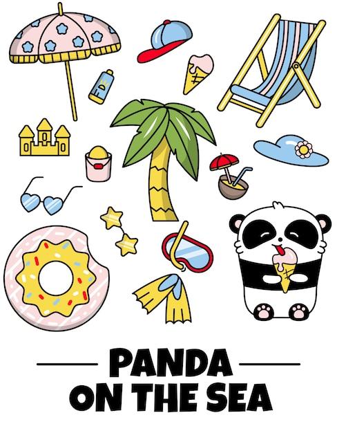 Définir des autocollants icône mignon vacances d'été de panda Vecteur Premium