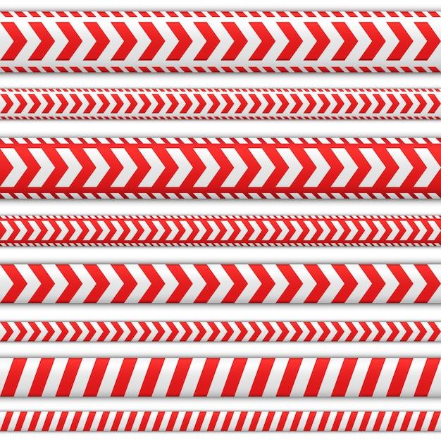 Définir Des Bandes Sans Soudure. Rubans De Couleur Rouge Et Blanche Pour Les Désignations De Direction. Indicateur De Direction Ou Attirer L'attention Sur L'itinéraire Nécessaire. Vecteur Premium