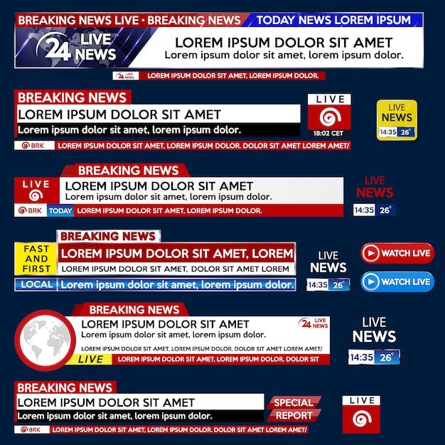 Définir la bannière du modèle breaking news pour la télévision à écran Vecteur Premium