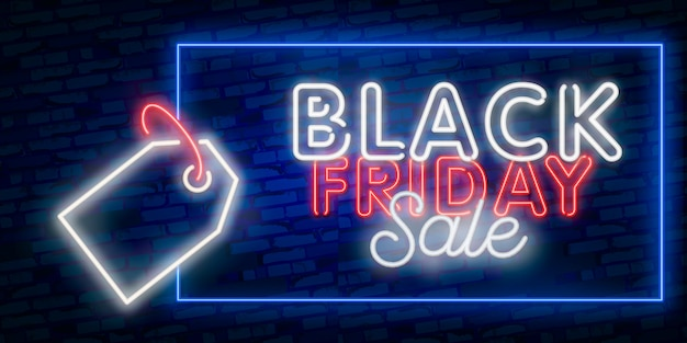 Définir la bannière web vendredi noir. enseigne au néon. bannière web, logo, emblème et étiquette. enseigne au néon, enseigne lumineuse, bannière lumineuse. Vecteur Premium