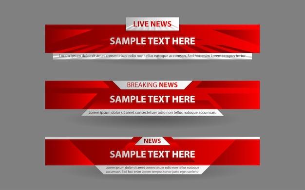 Définir Des Bannières Et Des Tiers Inférieurs Pour La Chaîne D'informations Avec Une Couleur Rouge Et Blanche Vecteur Premium