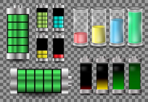 Définir La Batterie Vector Modèle Logo Illustration De La Charge D'énergie Vecteur Premium