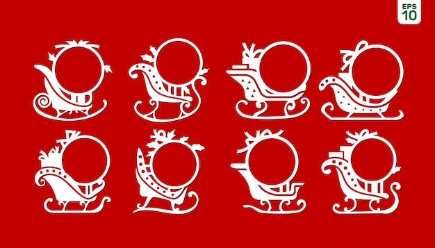 Définir Le Cadre Du Monogramme De Noël En Traîneau Du Père Noël Vecteur Premium