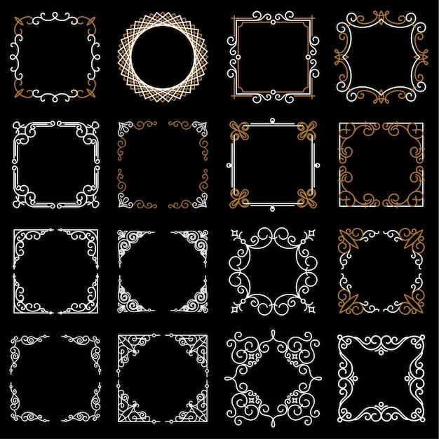 Définir des cadres vintage décoratifs dans le style de ligne mono Vecteur Premium