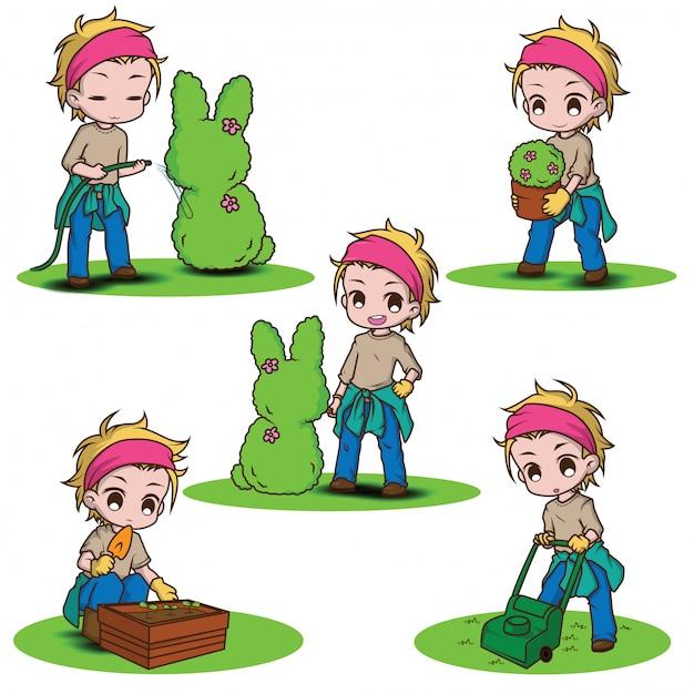 Définir le caractère mignon jardinier., concept de travail. Vecteur Premium