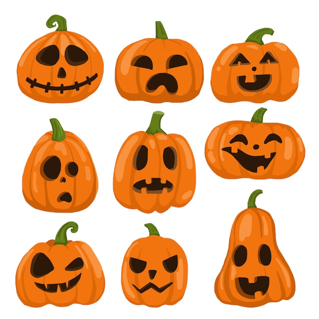 Définir Des Citrouilles Pour Objet Halloween, Icônes, Vecteur Premium