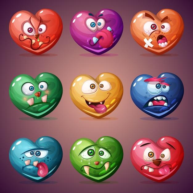 Définir le coeur saint-valentin. illustration d'amour Vecteur Premium