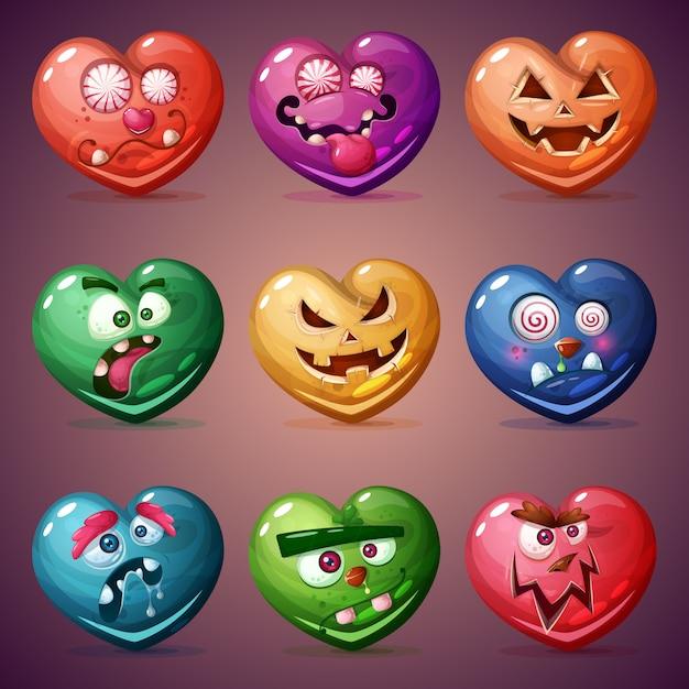 Définir le coeur saint-valentin Vecteur Premium
