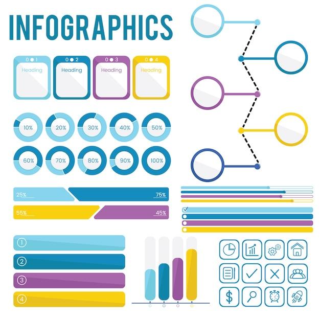 Définir la collection d'infographies Vecteur gratuit