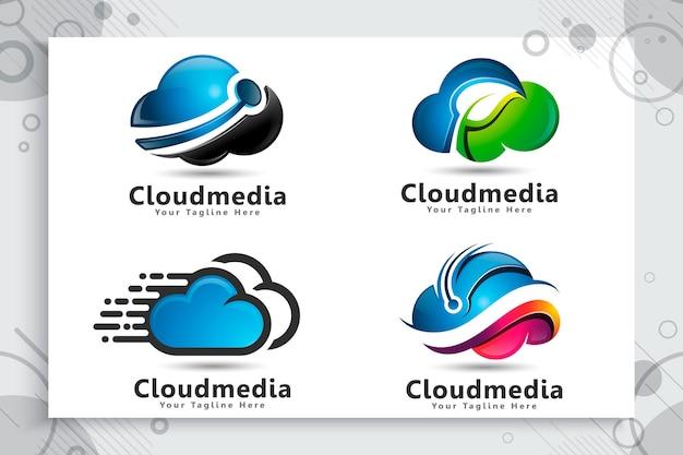 Définir La Collection De Logo Cloud Data Vecteur Premium