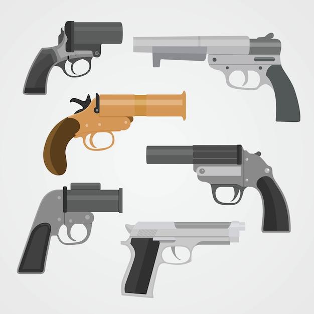 Définir les collections d'armes pistolet illustration vectorielle Vecteur Premium