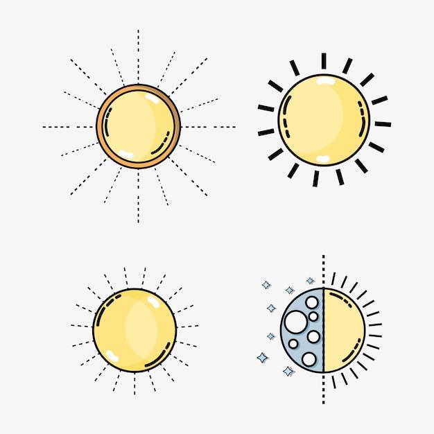 Définir les conditions météorologiques et la température naturelle Vecteur Premium