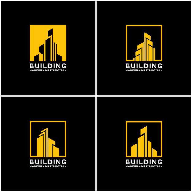 Définir La Construction De Lot De Conception De Logo De Construction De Collection. Vecteur Premium