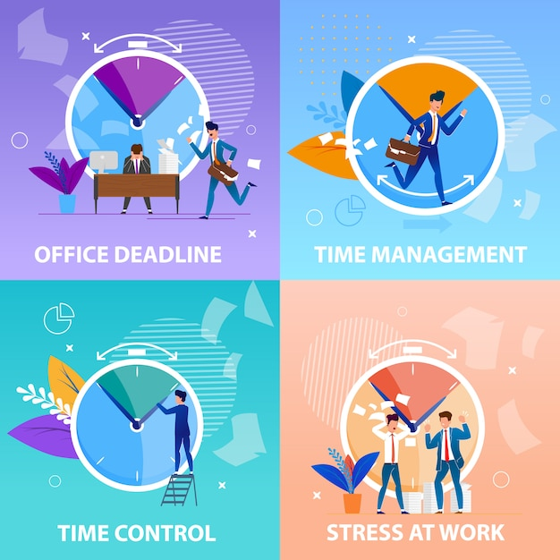 Définir le contrôle de gestion du temps office. aspects positifs et négatifs respect des délais dans le processus de travail Vecteur Premium