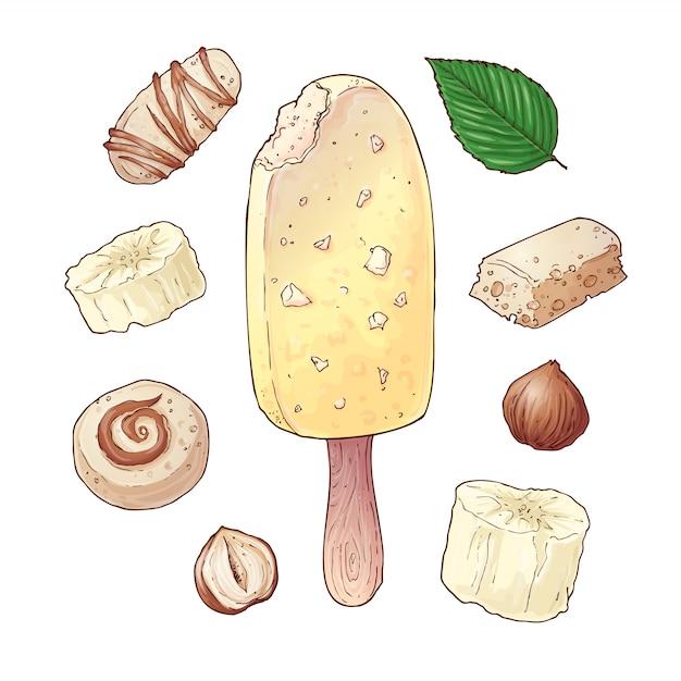 Définir la crème glacée banane bonbons noix de chocolat Vecteur Premium