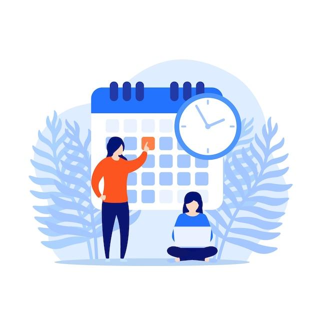 Définir Une Date Limite, Un Concept De Gestion Du Temps Vecteur Premium