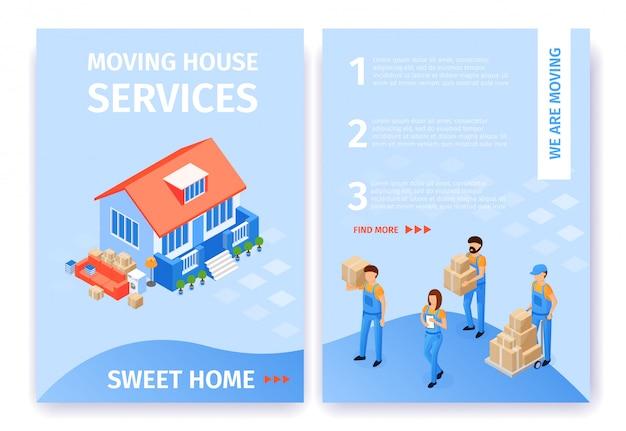 Définir déménagement services sweet home flat cartoon. Vecteur Premium