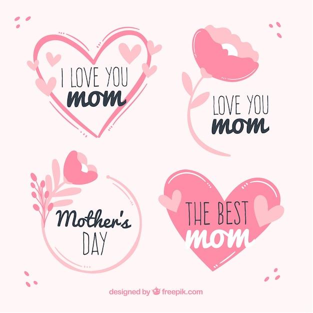 Définir des étiquettes de fête des mères avec des fleurs Vecteur gratuit