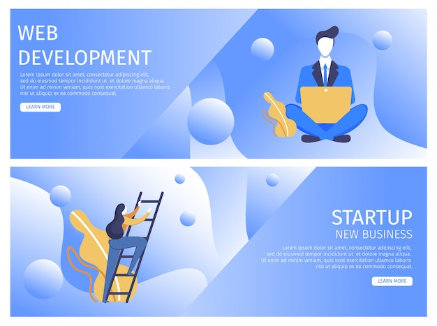 Définir le développement web plat, démarrage de nouvelles entreprises. Vecteur Premium