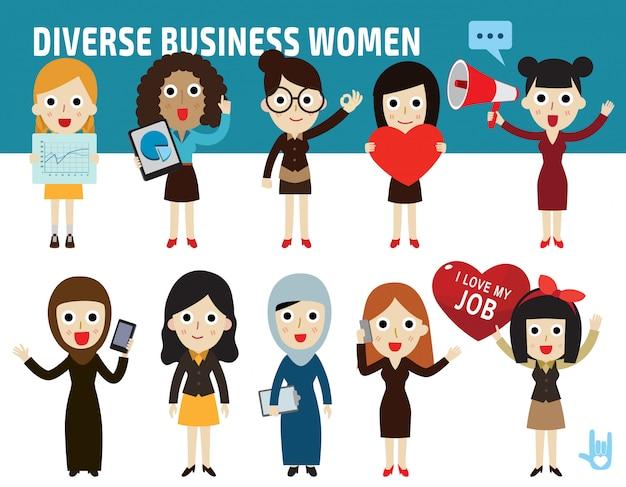 Définir la différence de nationalité pose de conception icône plate caricature de femmes d'affaires Vecteur Premium