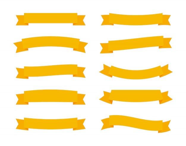 Définir Différentes Bannières De Rubans Vecteur Plat Isolés Sur Fond Blanc. Bandes Jaunes Au Design De Style Origami Vecteur Premium