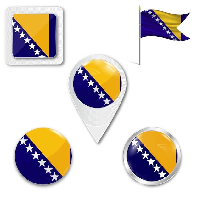 Définir le drapeau national des icônes de bosnie-herzégovine Vecteur Premium