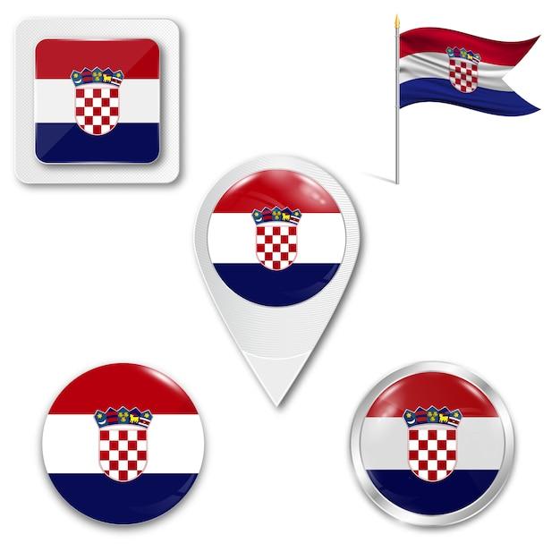 Définir le drapeau national des icônes de la croatie Vecteur Premium
