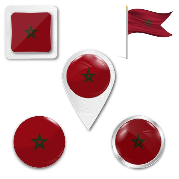 Définir le drapeau national des icônes du maroc Vecteur Premium