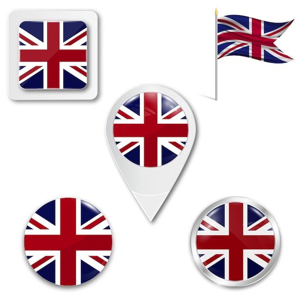 Définir le drapeau national des icônes du royaume-uni Vecteur Premium