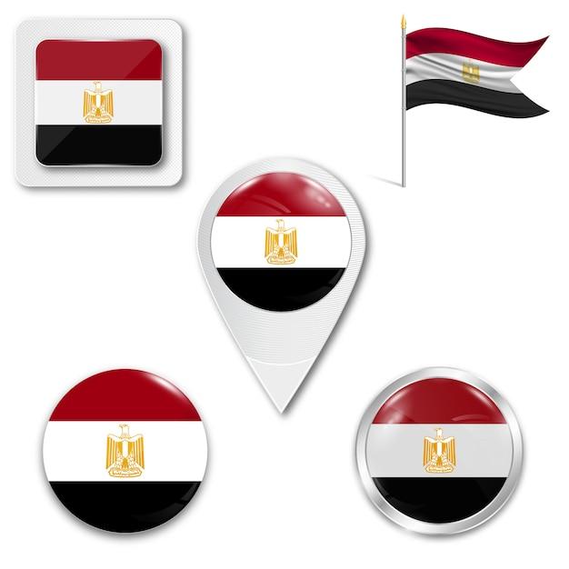 Définir le drapeau national des icônes de l'egypte Vecteur Premium