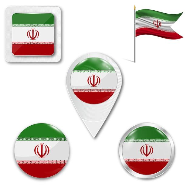 Définir le drapeau national des icônes de l'iran Vecteur Premium