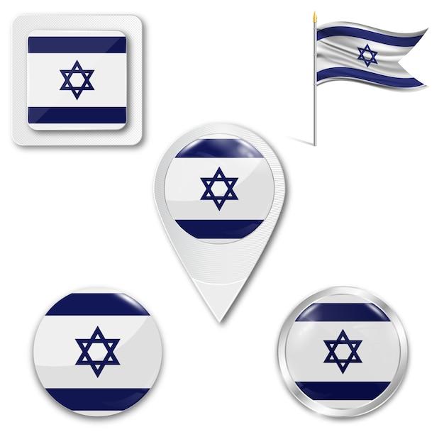Définir le drapeau national des icônes d'israël Vecteur Premium