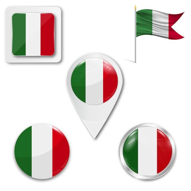 Définir le drapeau national des icônes de l'italie Vecteur Premium