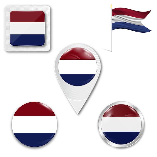 Définir le drapeau national des icônes des pays-bas Vecteur Premium