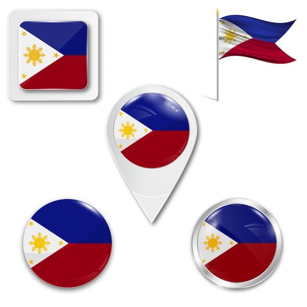Définir le drapeau national des icônes des philippines Vecteur Premium