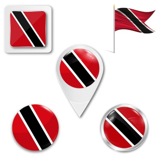 Définir le drapeau national d'icônes de trinité et tobago Vecteur Premium