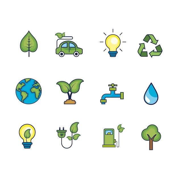 Définir l'écologie sur les soins de l'environnement naturel Vecteur Premium