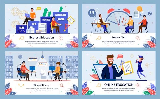 Définir L'éducation Express, La Bibliothèque étudiante, Le Dessin Animé. Vecteur Premium