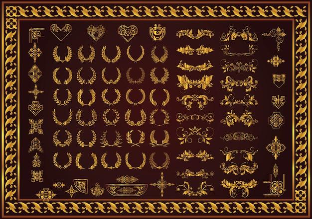 Définir des éléments décoratifs et un insigne couronnes de laurier Vecteur Premium
