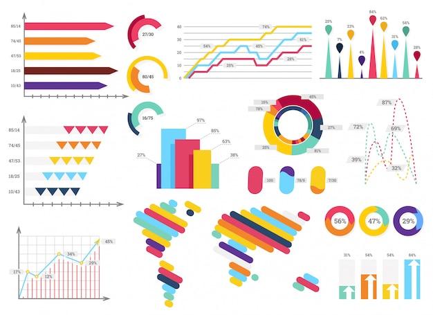Définir des éléments d'infographie. barres d'information, graphiques Vecteur Premium
