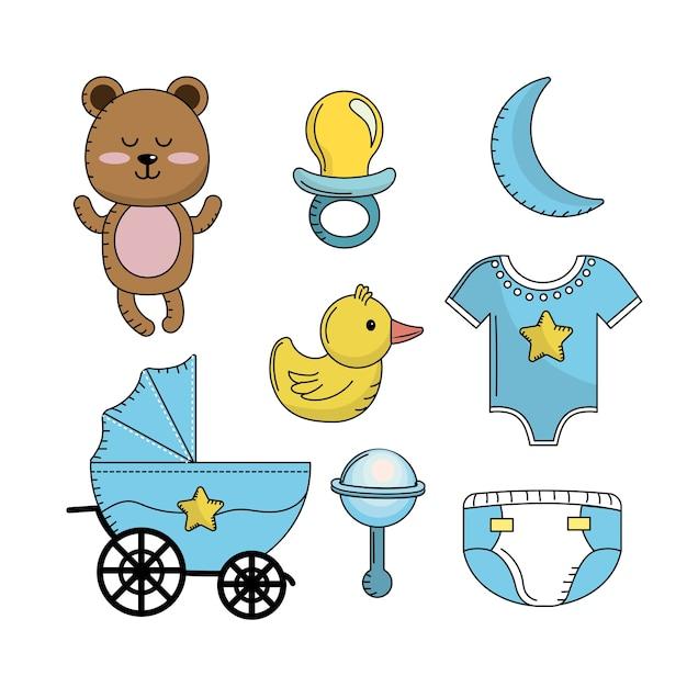 Définir des éléments d'outils bébé douche garçon Vecteur Premium